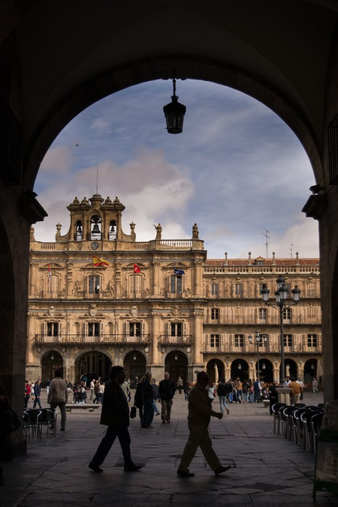 The striking Plaza Mayor functions as the social hub of Old Salamanca. Photo © 2015 Aaron Saunders