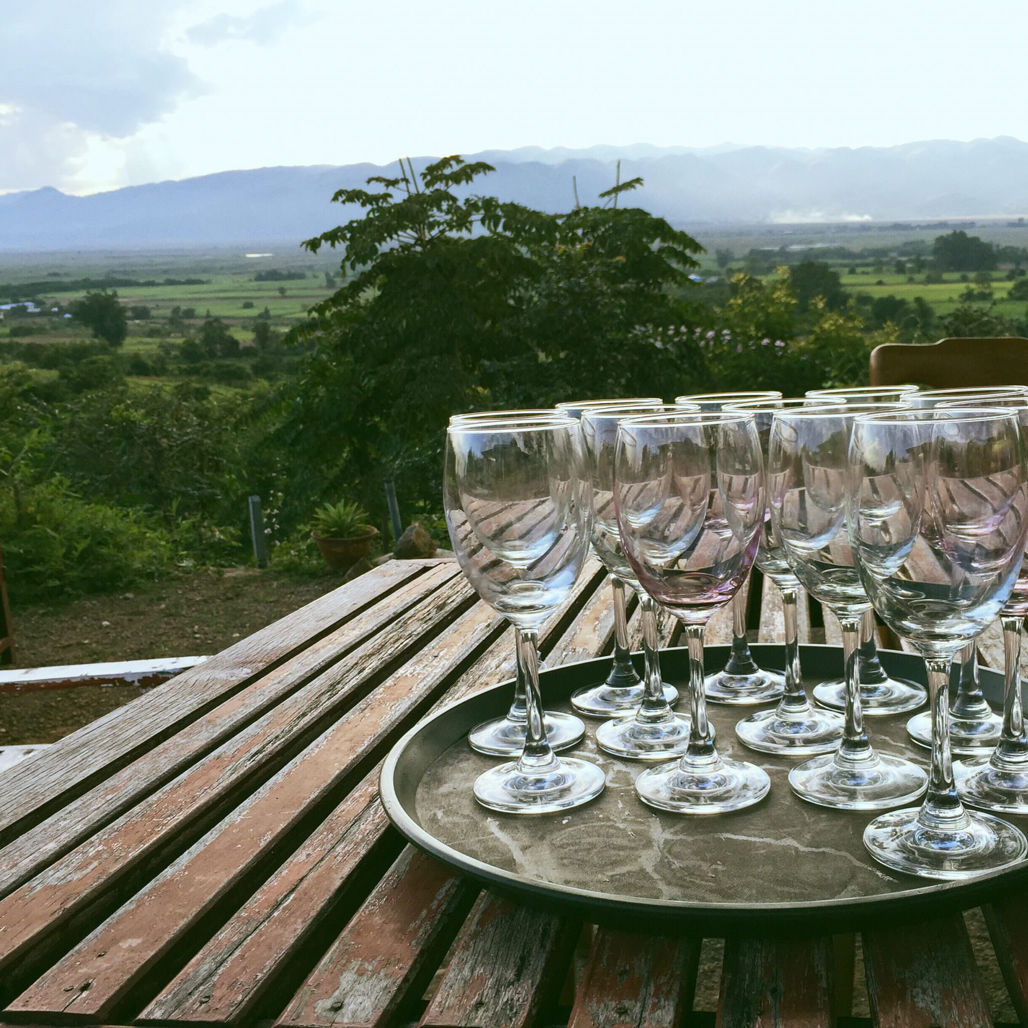 We were treated to a tasting menu that left tables full of empty glasses and sent happy tourists walking carefully up the hill to the bus. (c) 2015 Gail Jessen