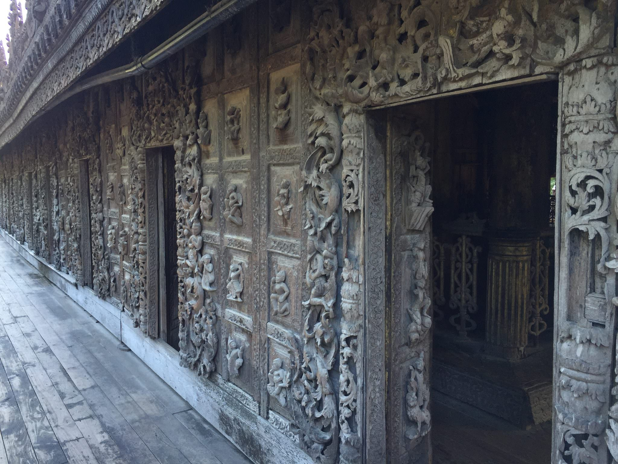 Every inch of the Palace is carved with stories and iconography of Buddhism. © 2015 Gail Jessen