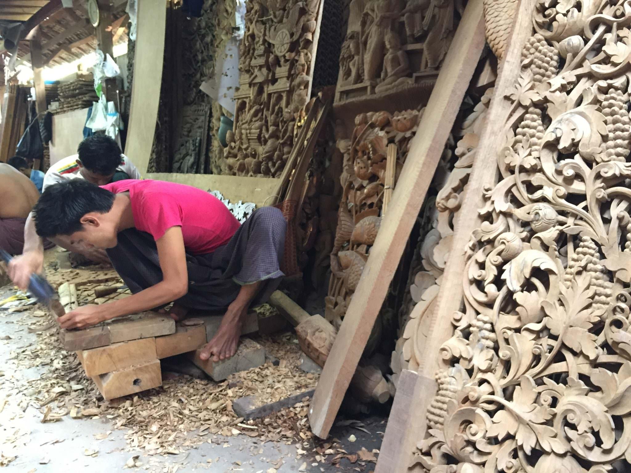 wood carving myanmar