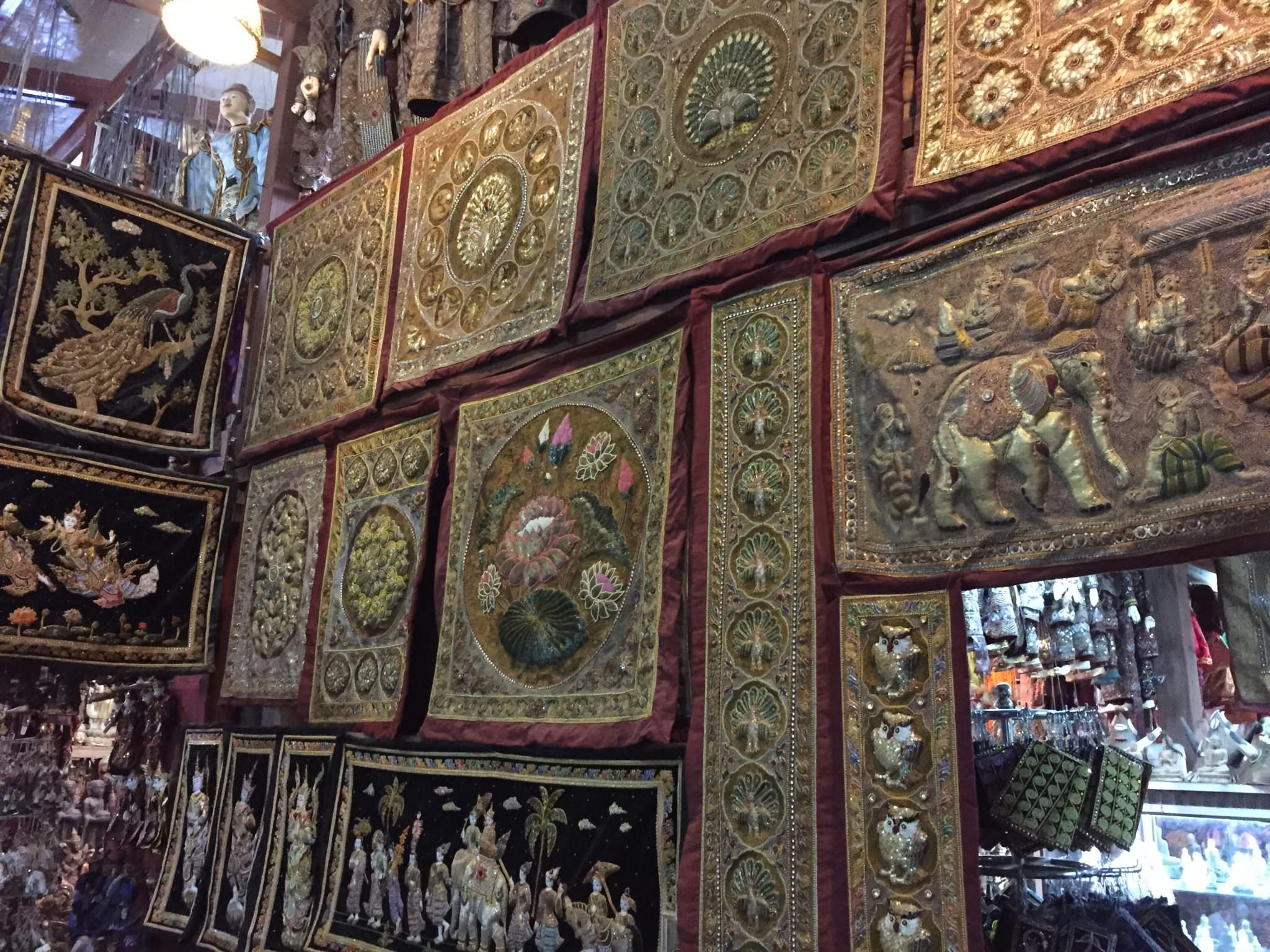 Kalagas galore! Traditionally, they hang on the wall of Burmese family homes, often as headboards for a bed. © 2015 Gail Jessen