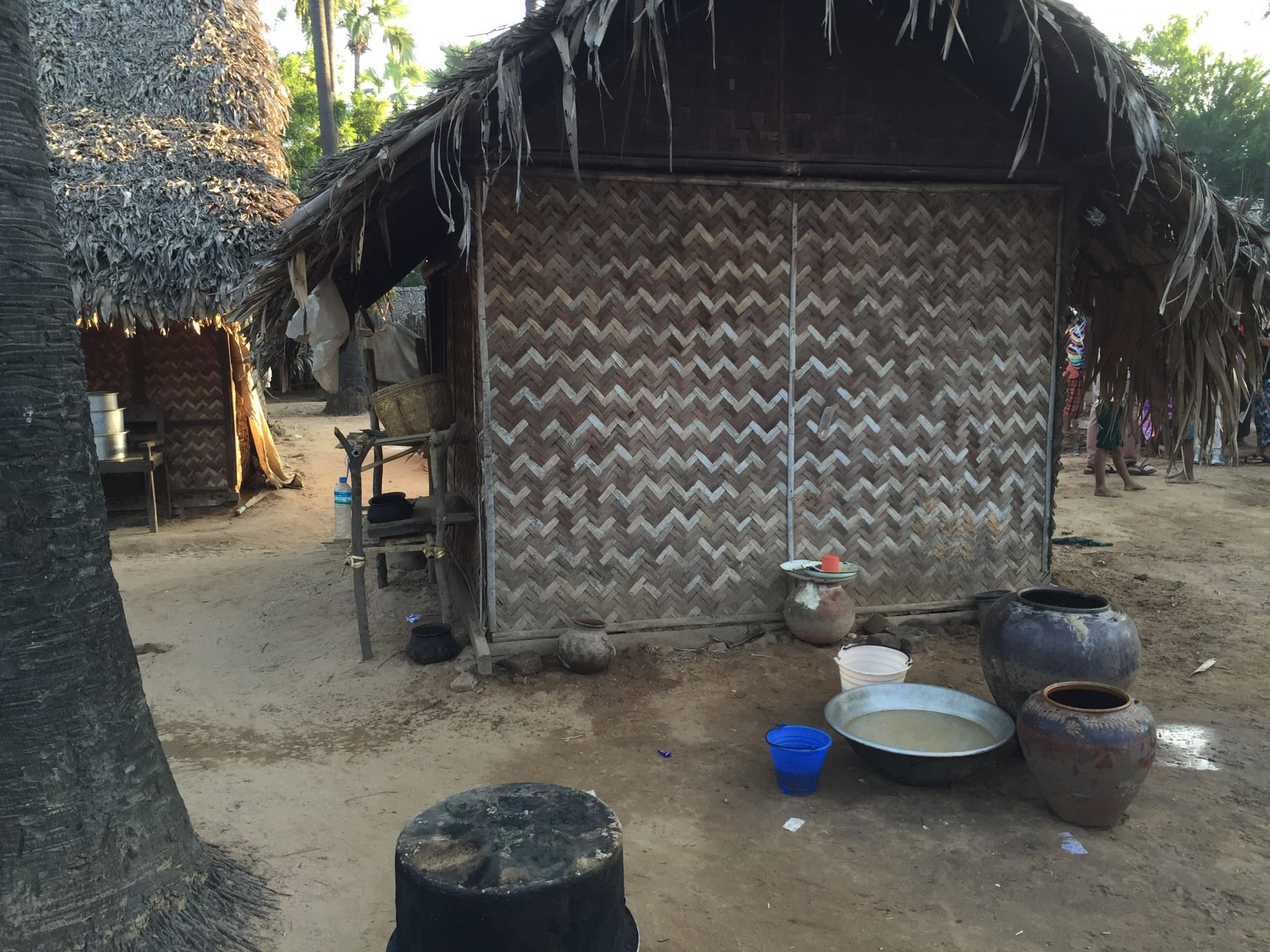 A kitchen outside a home in Ohn Ne Choung. It is common for many generations of a family to live in the same home. © 2015 Gail Jessen