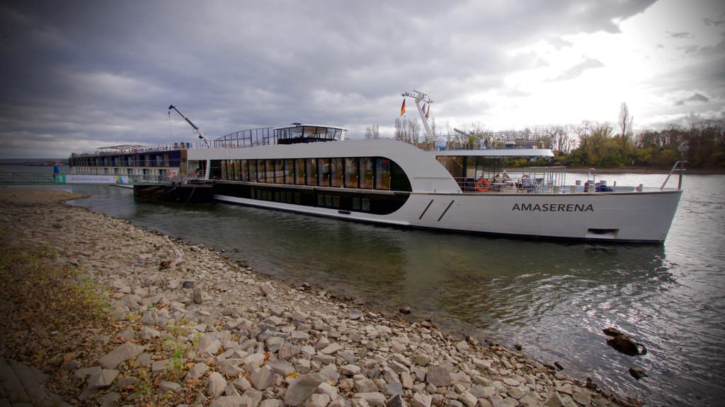 AmaSerena docked in low water on the Rhine in Rudesheim, Germany. © 2015 Ralph Grizzle