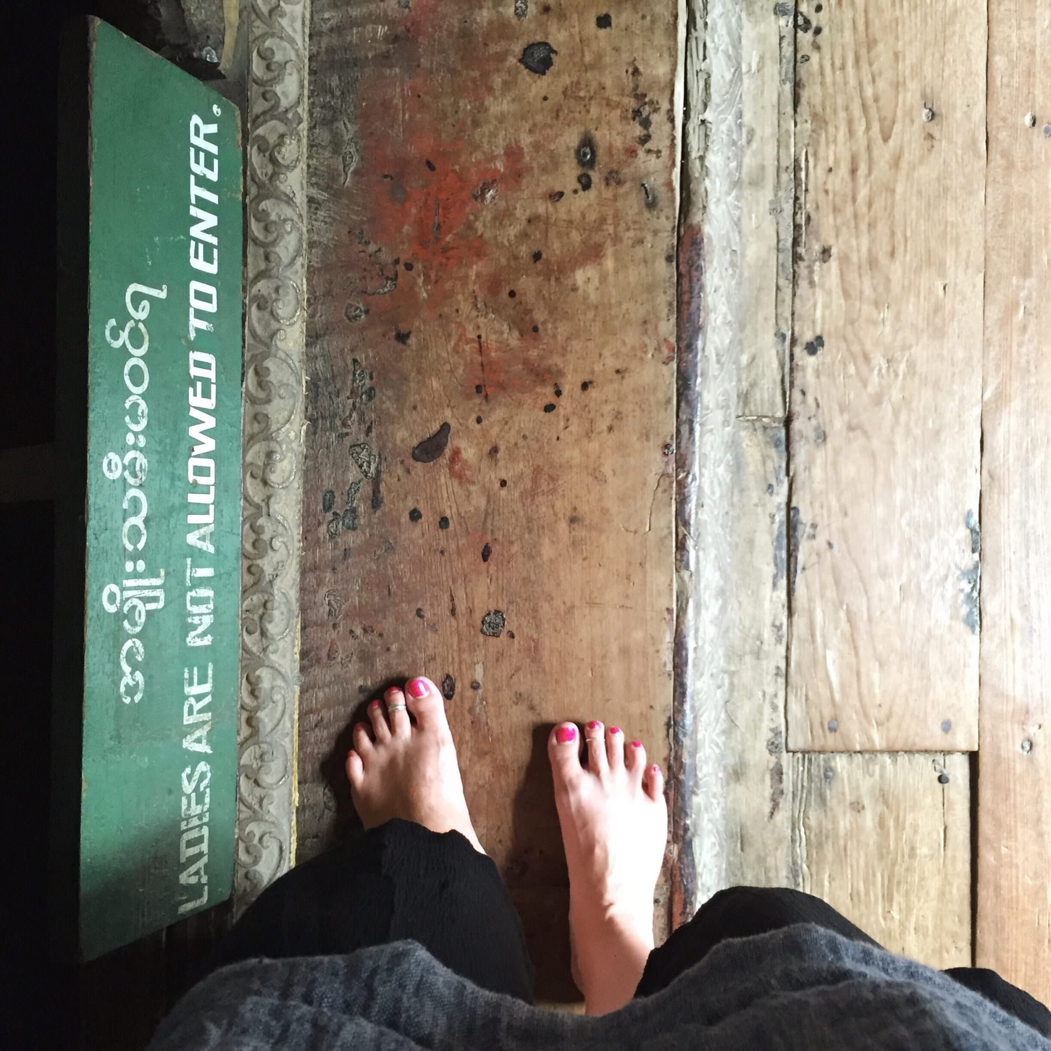 I'm not invited into the chamber containing the Buddha. In some of the pagodas we visited, women who are menstruating aren't allowed on the property at all. © 2015 Gail Jessen