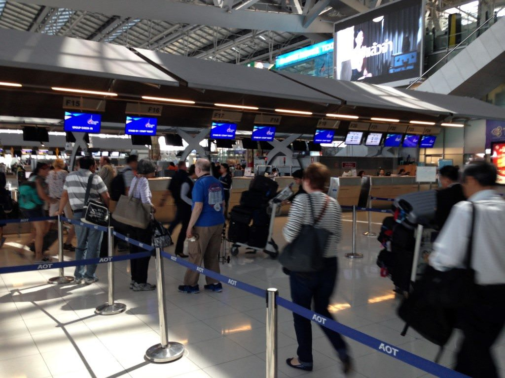 Checking in with Bangkok Airways at the airport couldn't have been easier, and we were escorted every step of the way. Photo © 2015 Aaron Saunders