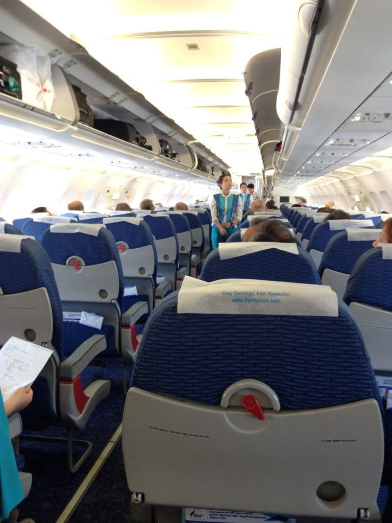 Onboard our Bangkok Airways Airbus A320, as boarding continued. Photo © 2015 Aaron Saunders