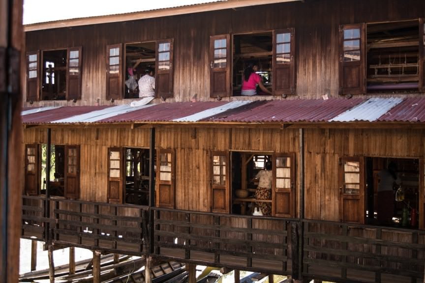 ...we also visited a silk weaving factory - also on stilts. Photo © 2015 Aaron Saunders