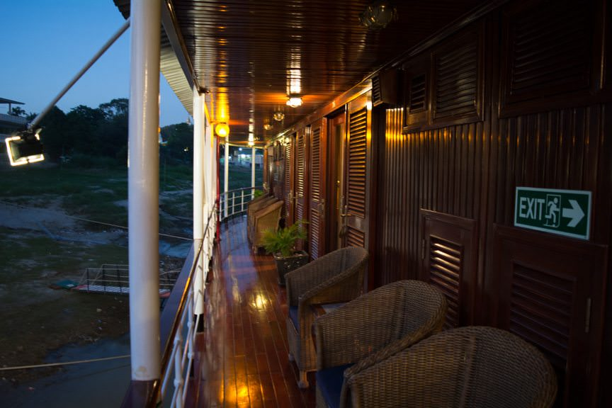 Out on deck, Viking Mandalay's gorgeous, colonial appearance takes on a new hue. Photo © 2015 Aaron Saunders