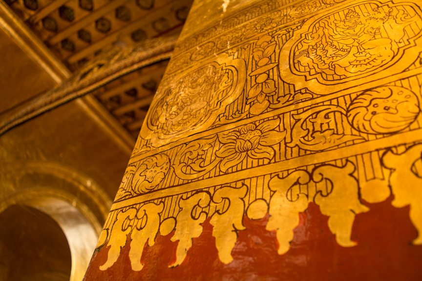 The pagoda is decorated in elaborate gold leaf patterns. Photo © 2015 Aaron Saunders