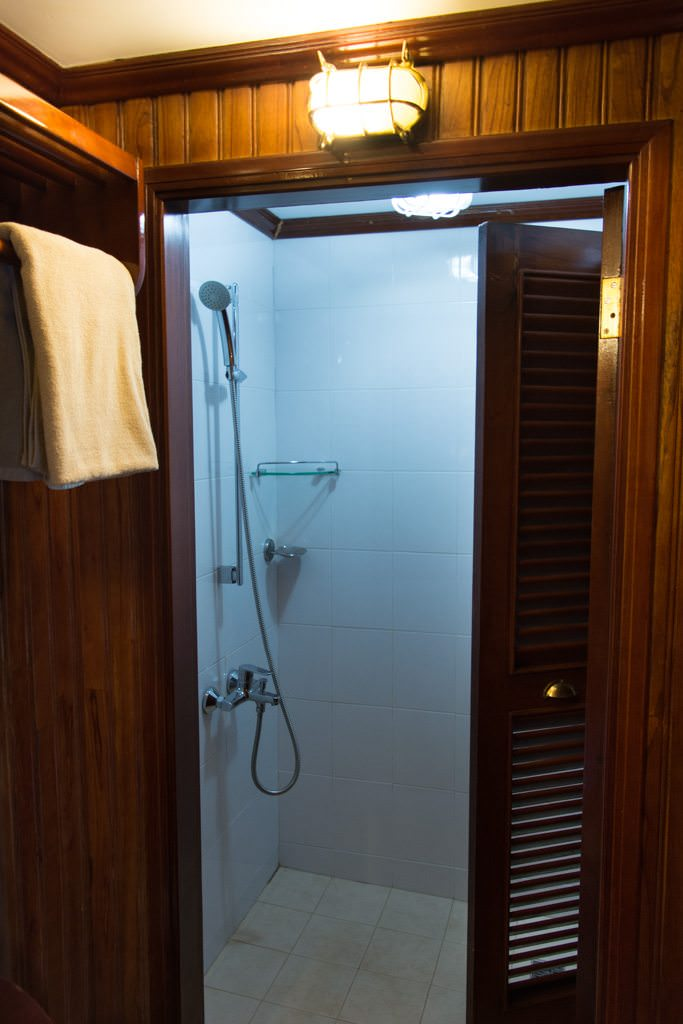 The only thing I'm not a fan of in my stateroom is the oddly-illuminated shower. Photo © 2015 Aaron Saunders