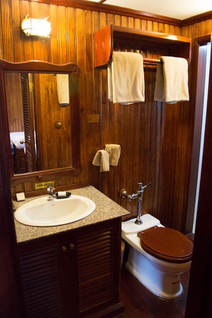 The bathroom: compact but functional. Photo © 2015 Aaron Saunders