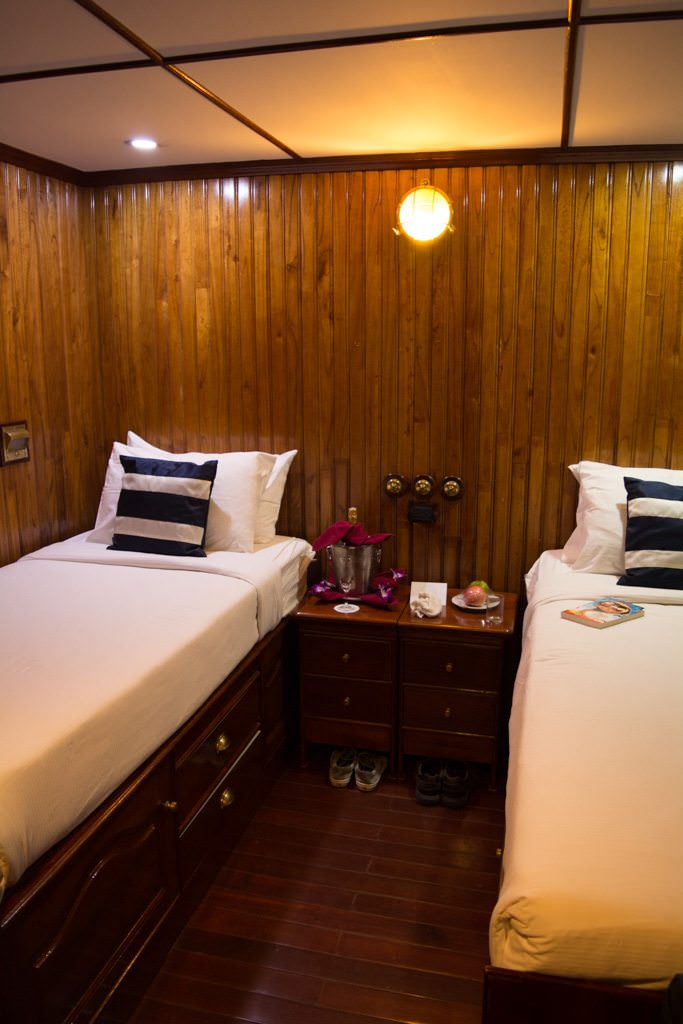 Staterooms are all essentially the same size, and are constructed from beautifully-polished wood. Photo © 2015 Aaron Saunders
