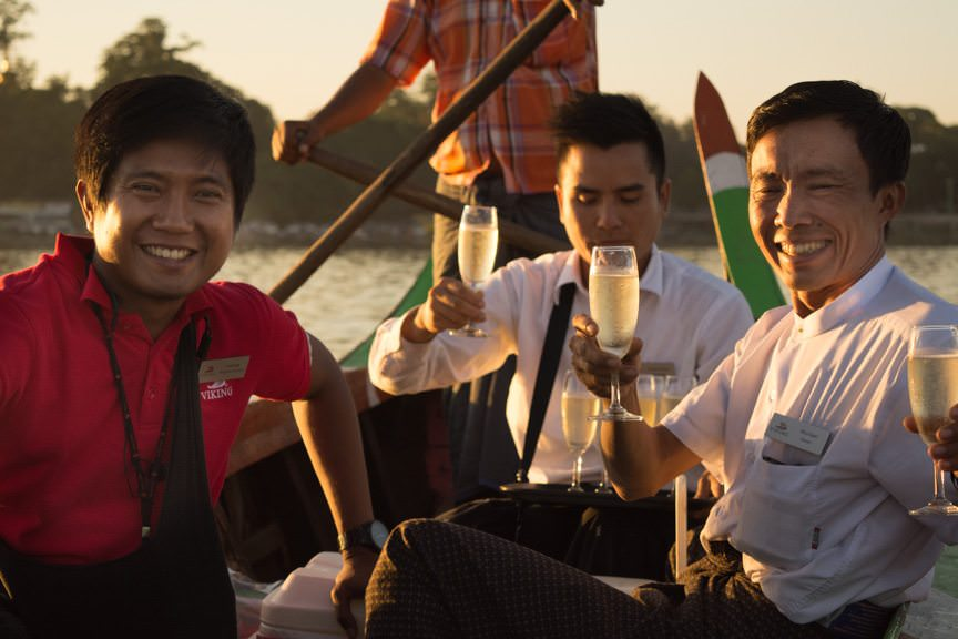Viking Program Director Andrew and Viking Mandalay's Bar Staff had champagne ready for us! Photo © 2015 Aaron Saunders