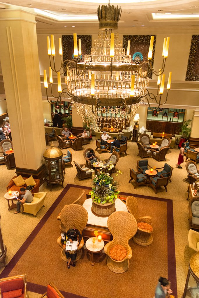 The soaring lobby of the Sule Shangri-La Yangon. Photo © 2015 Aaron Saunders