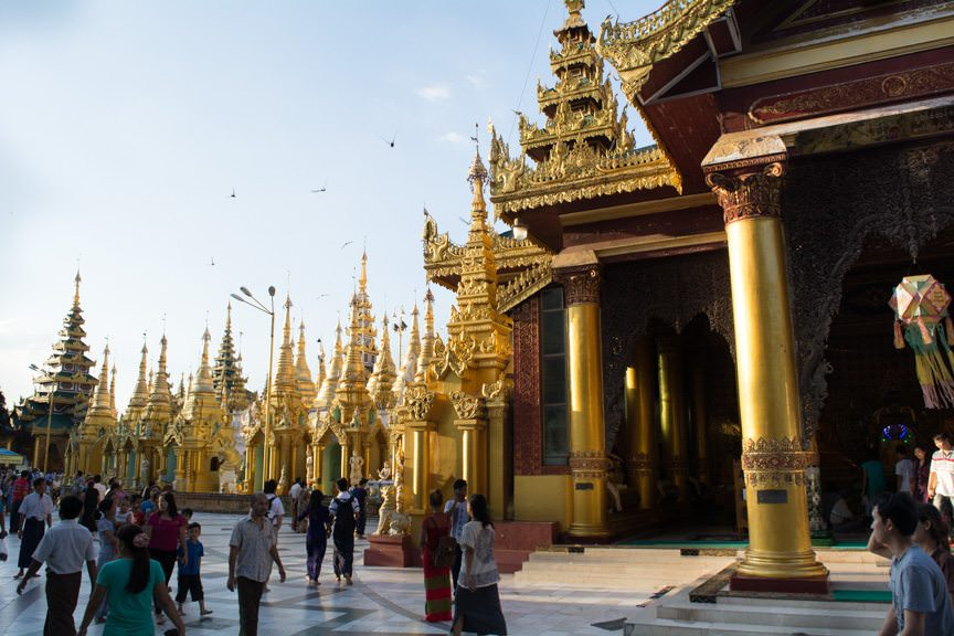 First Look: the Shwedagon Pagoda. Photo © 2015 Aaron Saunders
