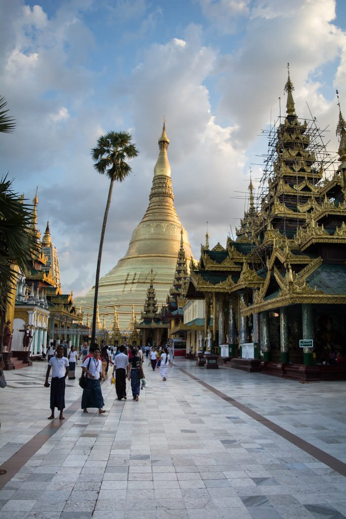 People from around the world come to Shwedagon Pagoda to pay respects...Photo © 2015 Aaron Saunders