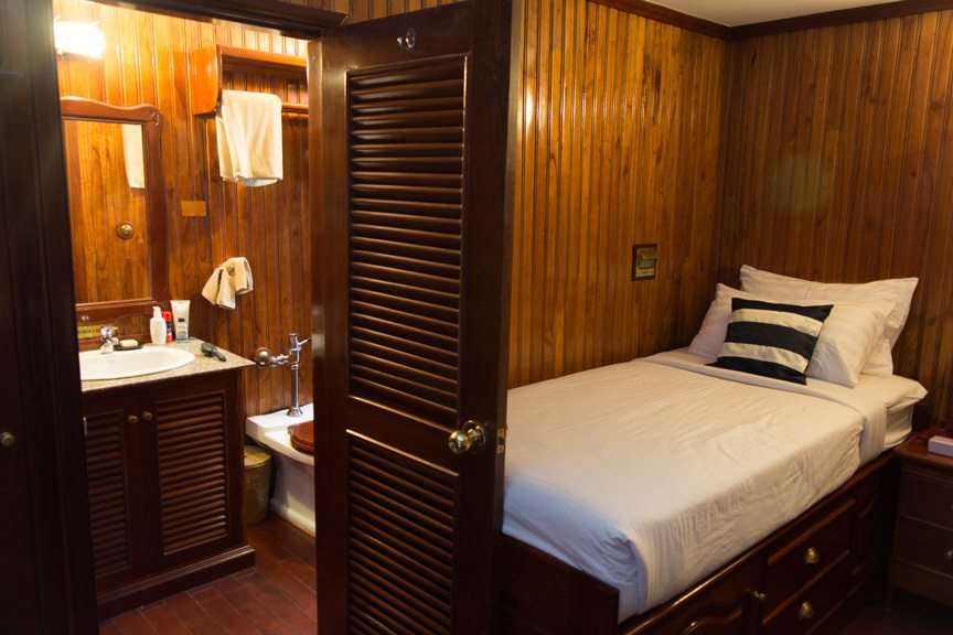Viking Mandalay's staterooms are small but cozy, and appointed in colonial style. Photo © 2015 Aaron Saunders