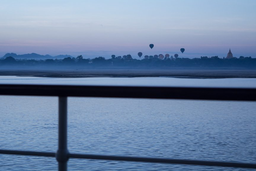 Good Monring, Myanmar! The view from Viking Mandalay as we neared Bagan, Myanmar. Photo © 2015 Aaron Saunders