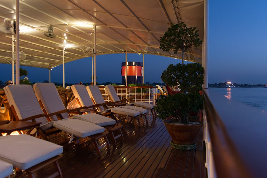 Goodnight from Viking Mandalay's relaxing sun deck! Photo © 2015 Aaron Saunders