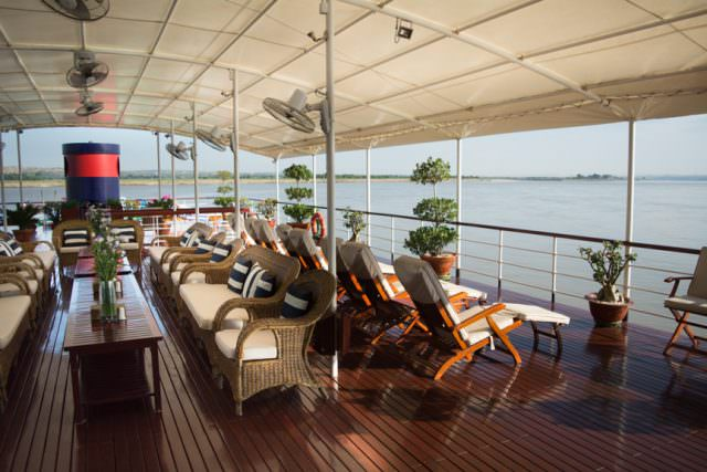 Relaxing out on the sun deck aboard Viking Mandalay. Photo ©  2015 Aaron Saunders