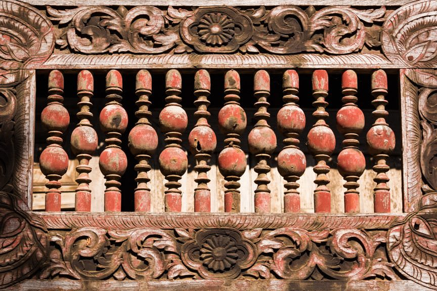 Intricately carved wood. Photo © 2015 Aaron Saunders