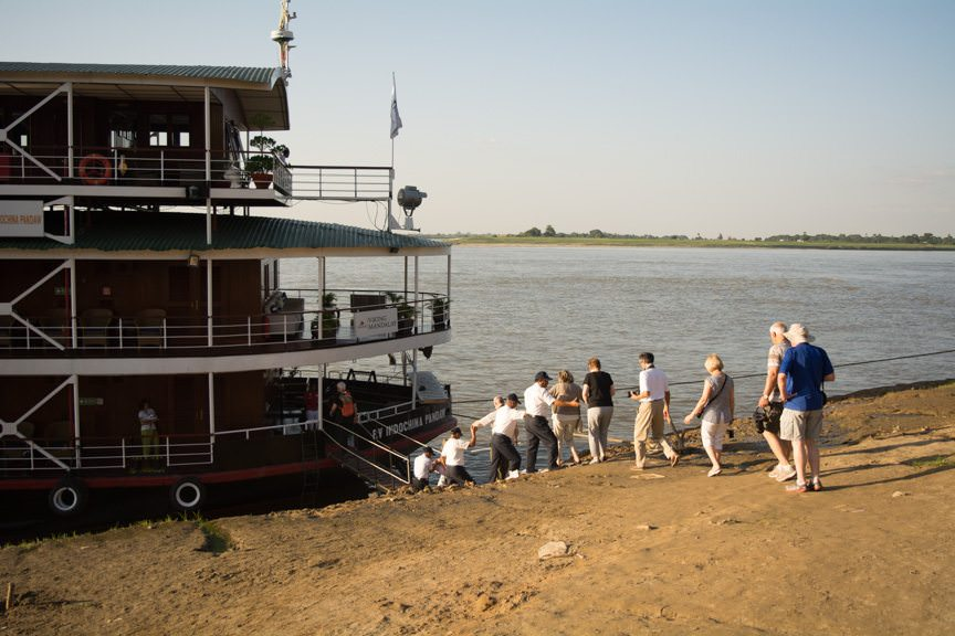 Embarking Viking Mandalay in Myanmar; the quintessential example of an exotic river cruise. Photo © 2015 Aaron Saunders