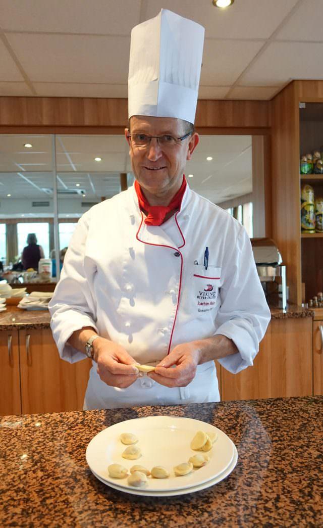 Executive Chef Joachim Meier demonstrates how to make pelmeni - © K.D. Leperi