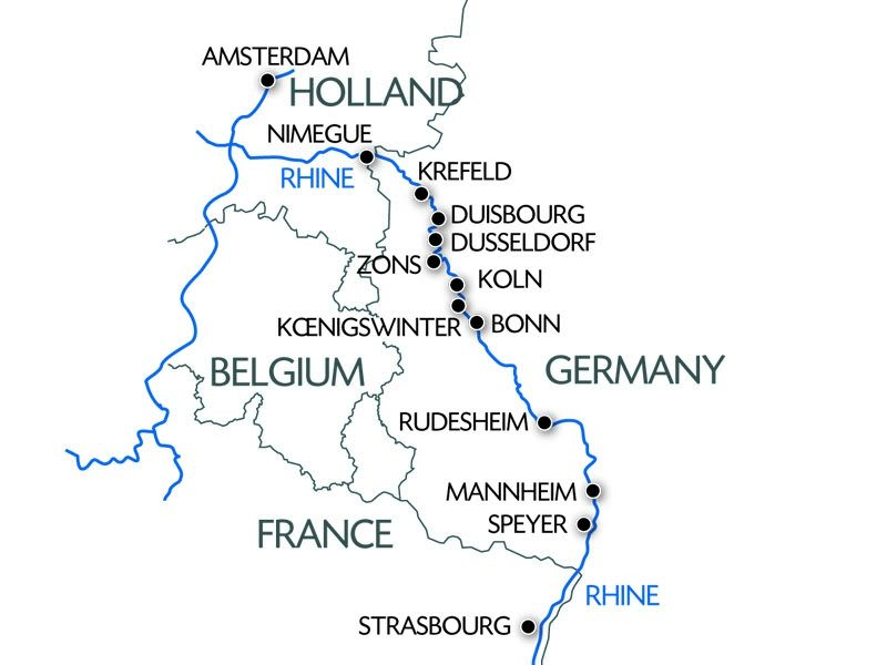 """CroisiEurope's """"Holland and the Romantic Rhine"""" itinerary includes a number of off-the-beaten-path ports of call. Illustration courtesy of CroisiEurope"""