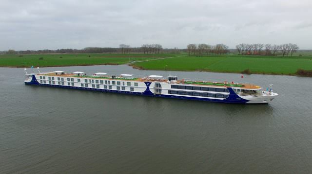 Vantage Deluxe World Travel's new River Voyager, upon her delivery from the Teamco Shipyard in the Netherlands. Photo courtesy of Teamco Shipyard.