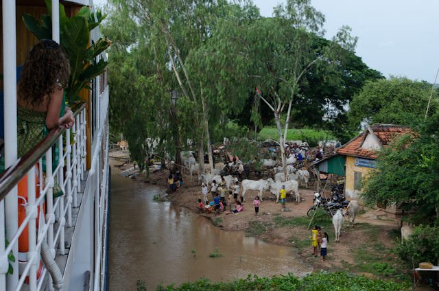 The tiny village of Kampong Tralach, Cambodia, as seen from the decks of AmaWaterways' AmaLotus. Photo ©  2013 Aaron Saunders
