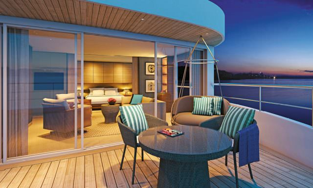 The Royal Panorama Suite aboard Scenic Spirit is one of river cruising's largest. Render courtesy of Scenic.