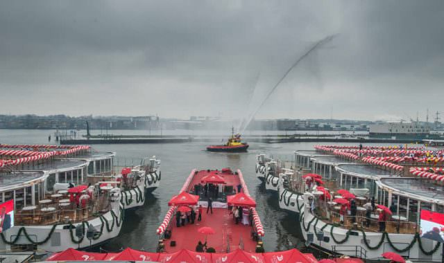 Viking Longships christening ceremonies last week in Amsterdam.