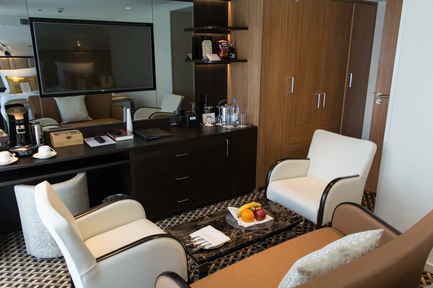 Deluxe Suites aboard Vantage's new River Voyager feature flat-panel television sets, in-room podded coffee machines, and plenty of closet space. Photo © 2016 Aaron Saunders