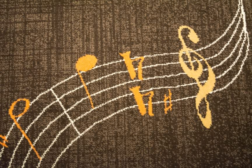 This random River Voyager carpet shot reveals the jazz and music theme that runs throughout the ship. Photo © 2016 Aaron Saunders
