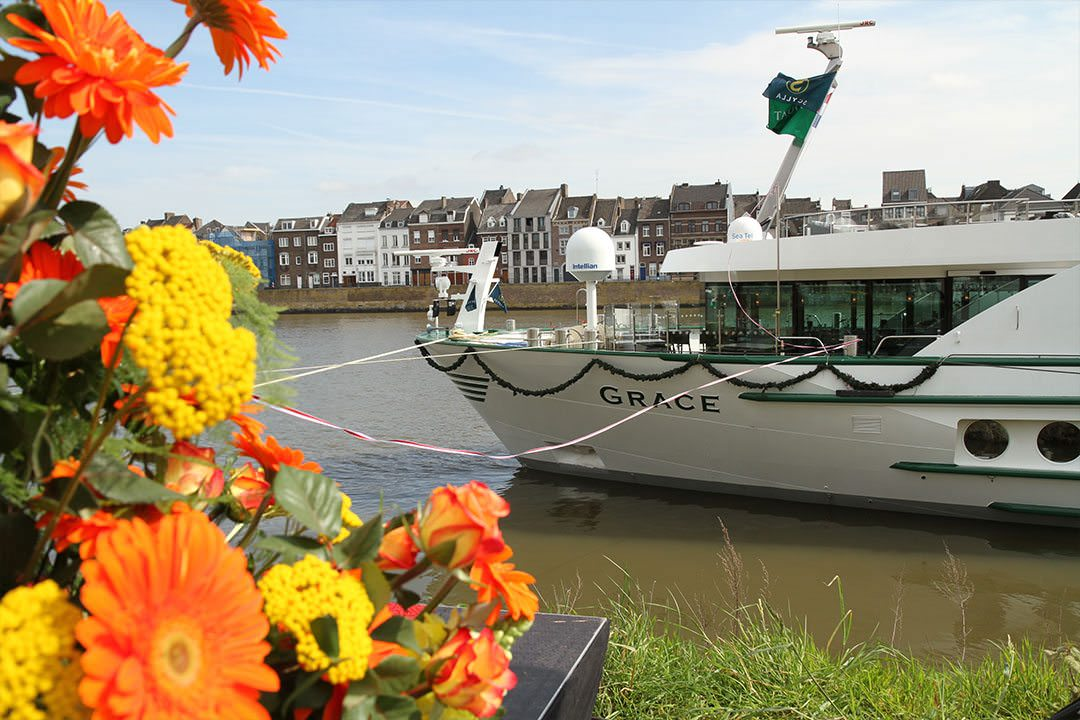 Tauck's newest riverboat, ms Grace, was christened recently in Maastrich, Netherlands. Photo courtesy of Tauck