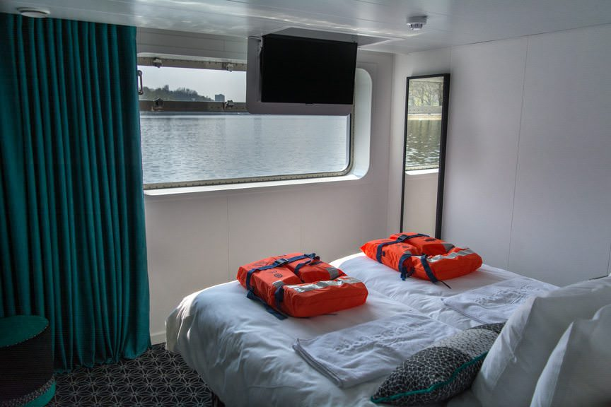 While Deck 1 staterooms feature larger-than-average riverview windows. Photo © 2016 Aaron Saunders