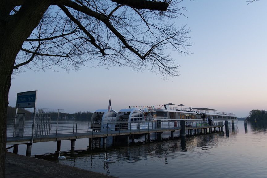 The Elbe Princesse docked at the Greenwichpromenade Docks on the evening of April 14, 2016. Photo © 2016 Aaron Saunders