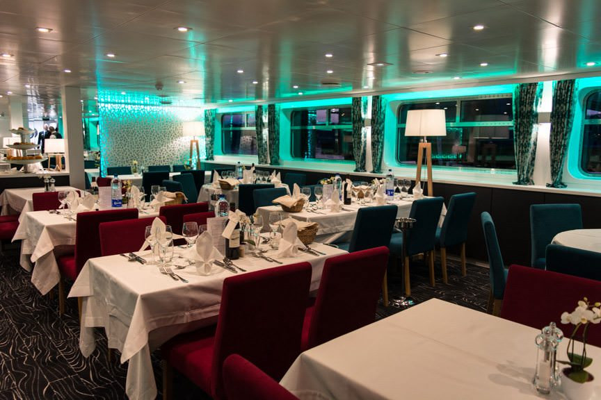 The Dining Room aboard the Elbe Princesse is located on Deck 1. Photo © 2016 Aaron Saunders