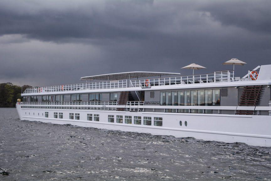 CroisiEurope's Elbe Princesse, docked in Berlin-Tegel on a stormy afternoon. Photo © 2016 Aaron Saunders