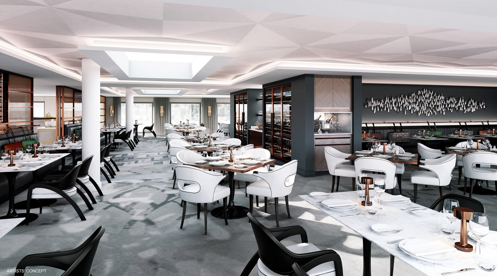 Crystal Mozart Restaurant rendering. Courtesy of Crystal Cruises