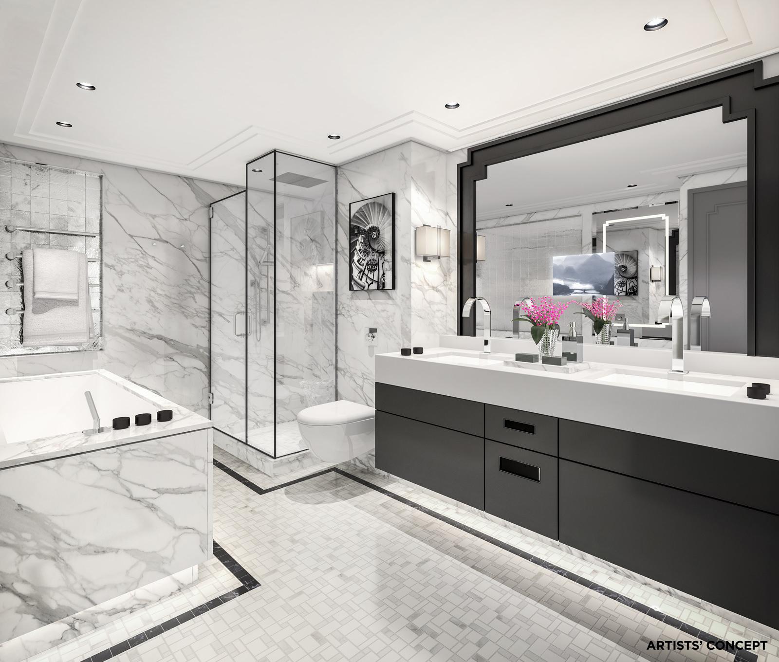 Crystal Mozart suite bathroom rendering. Courtesy of Crystal Cruises