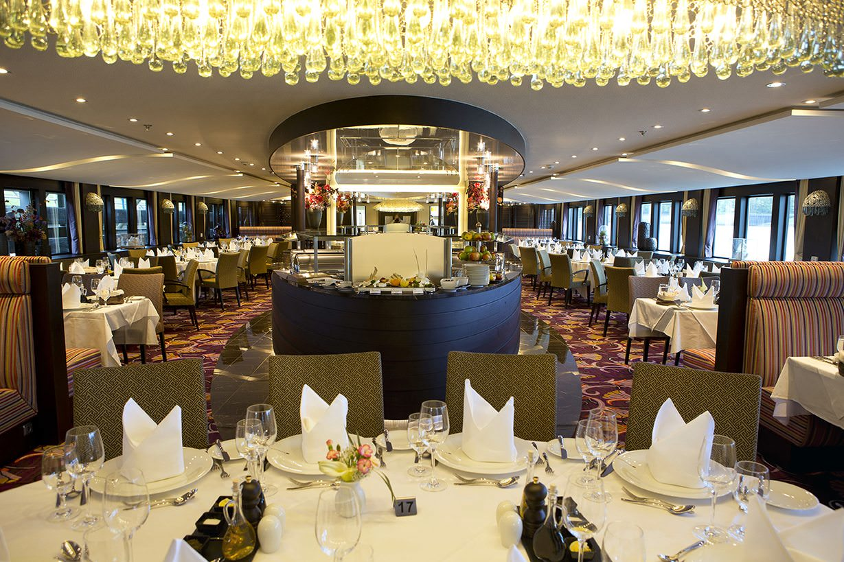 The main Restaurant aboard AmaViola is an elegant, classy space. Photo courtesy of AmaWaterways.