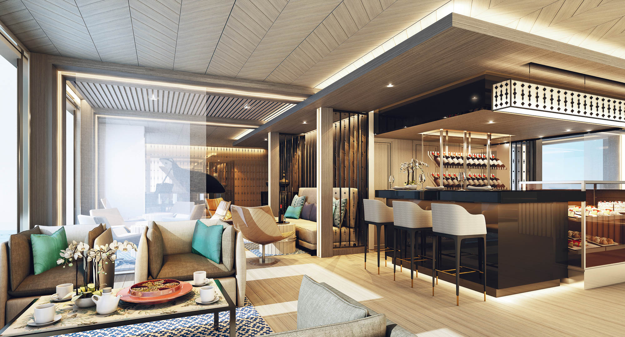 Scenic Aura is one of the most stylish river cruise ships on the Irrawaddy. Rendering courtesy Scenic