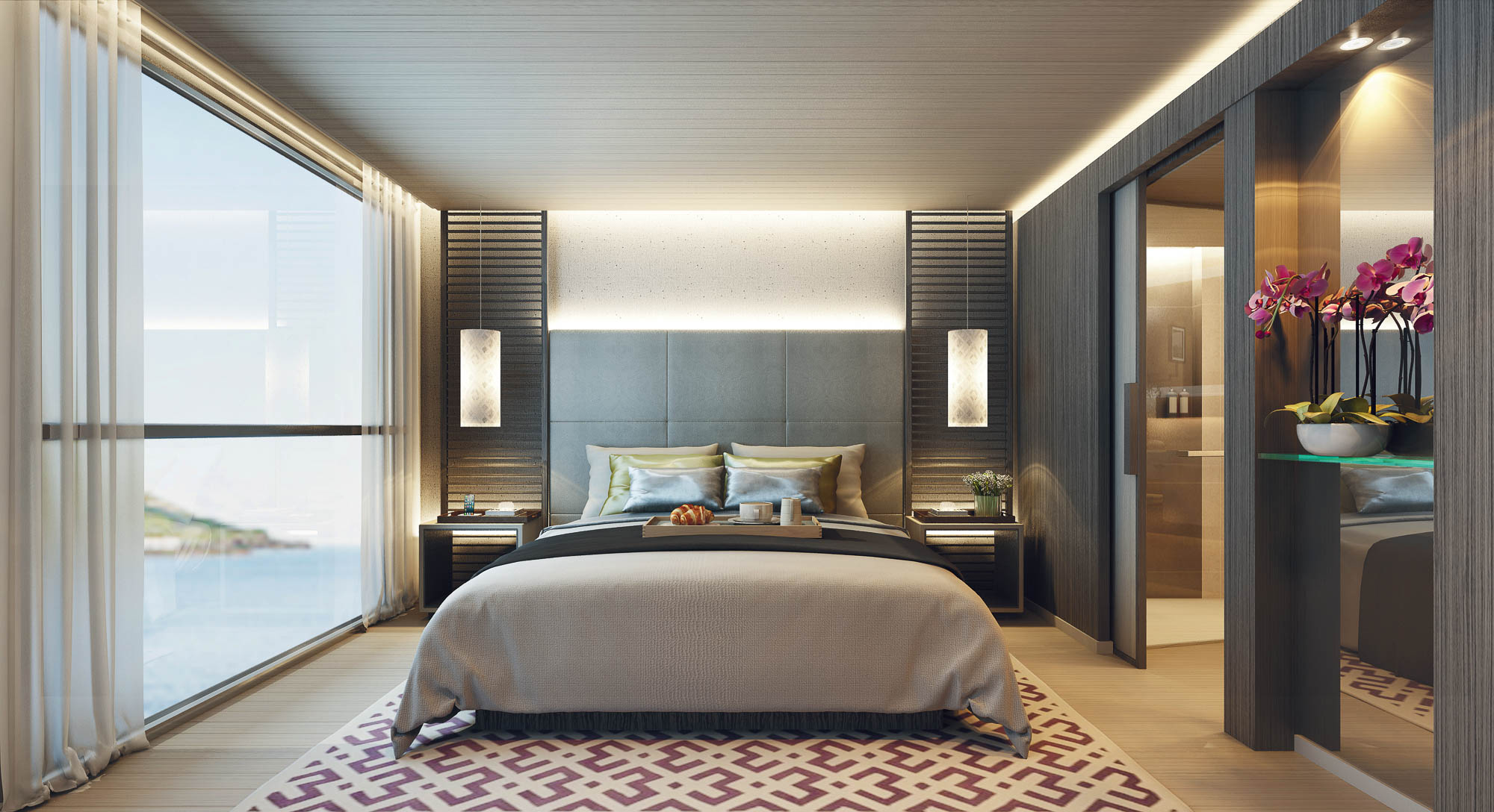 Scenic Aura's staterooms reflect the casual elegance Scenic is known for. Rendering courtesy Scenic