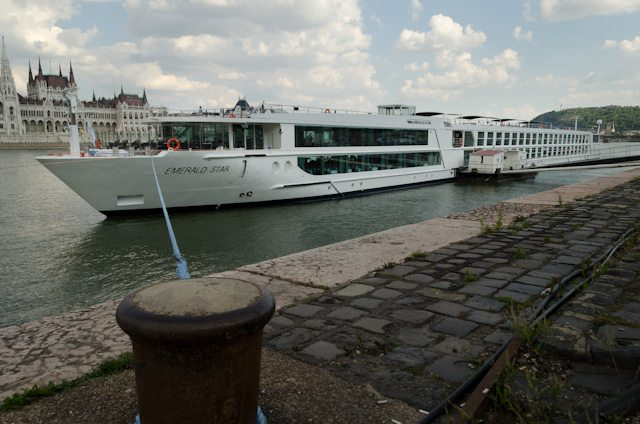 Emerald Star Docked on the Buda side of Budapest. Photo © 2014 Aaron Saunders