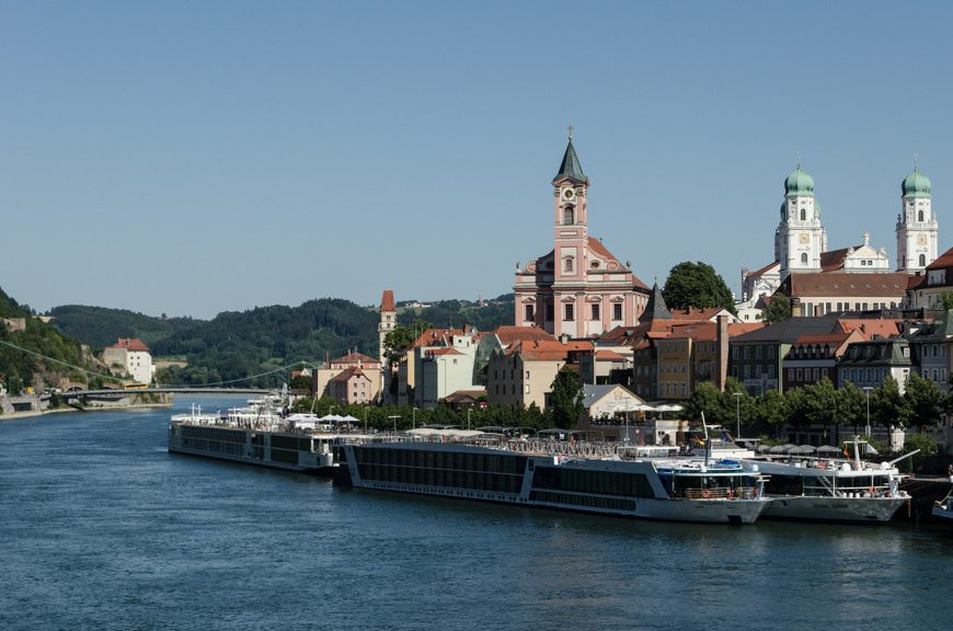 When river cruise ships dock, they dock literally right next to each other, as seen here in Passau. Photo © 2015 Aaron Saunders