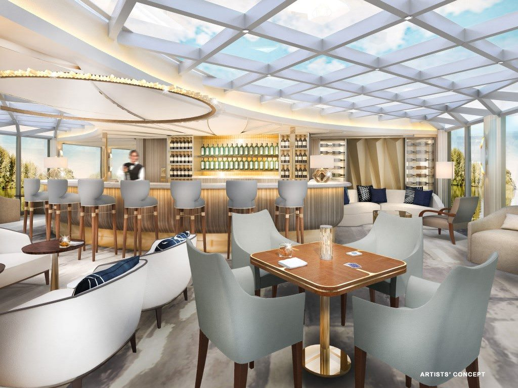 Crystal intends to raise the river cruise experience with luxurious and creative public spaces like the Palm Court. Rendering courtesy of Crystal River Cruises.