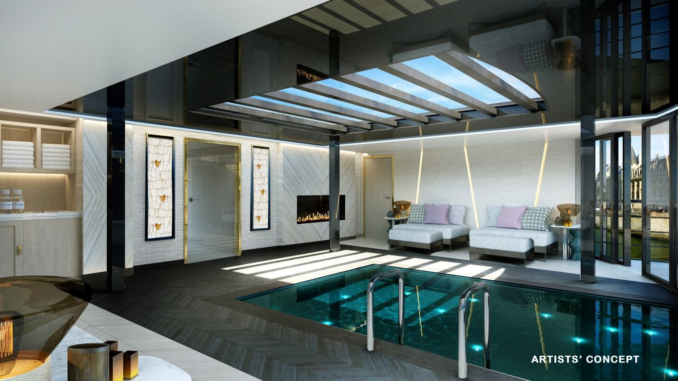 Onboard pool, Crystal Mahler & Crystal Bach. Rendering courtesy of Crystal River Cruises.
