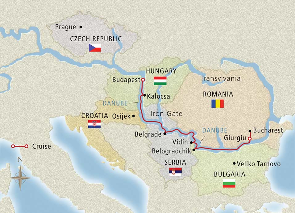 The Danube's Iron Gates border Serbia and Romania. Illustration courtesy of Viking River Cruises