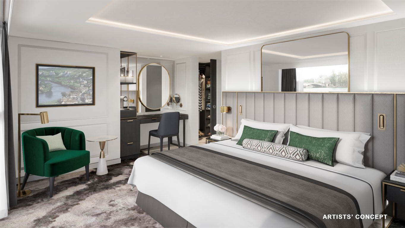 Crystal's new river cruise ships will feature all-suite accommodations situated above the waterline. Rendering courtesy of Crystal River Cruises.